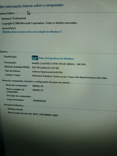 pc i7 4770 / asus z97 pro / 16gb / 1tb / 500gb