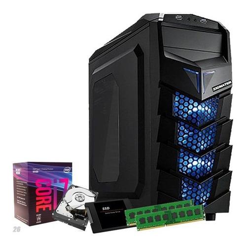 pc i7 8700 8 geração, 32gb ddr4, ssd 240gb, 1tb, wi-fi + nfe