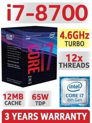 pc intel cpu i7 8700, 16gb ddr4, ssd 240gb, fonte 600w