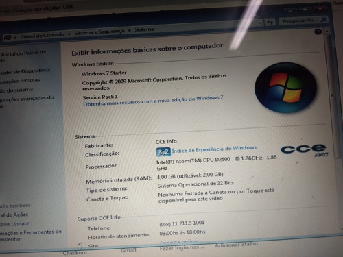 pc micro computador cce info intel atom windows 7