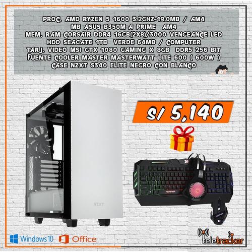 pc ryzen 5 1600 / 16gb ram / gtx 1080 / 1tb / w10 + office