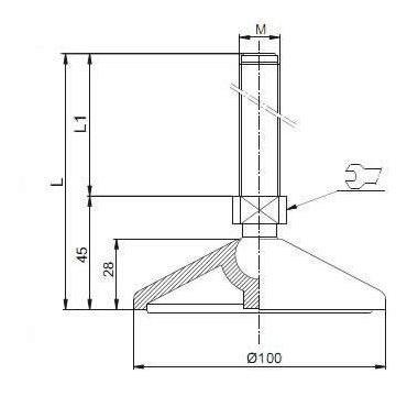 pé nivelador articulado - base ø100mm - m16 x 100mm