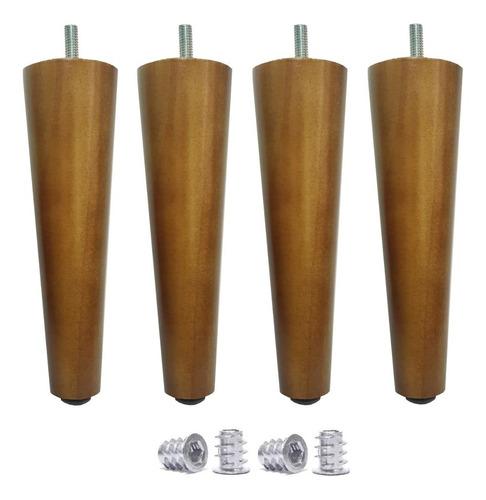 pé palito 18cm madeira sofá puff + bucha americana kit 4 pés