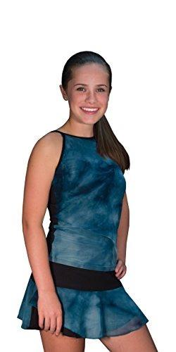 Peachy Tan Helena Teal Tie Dye Mesh Layered Skirt