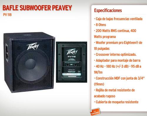 peavey pv 118 subwoofer sub low caja grave 18 !oferta!!!