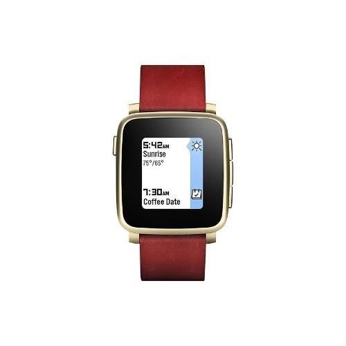 pebble - tiempo de acero de 32 mm smartwatch - cuero del oro