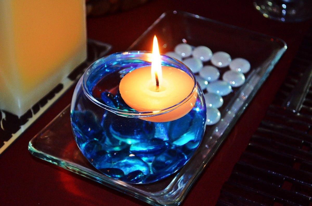 Pecera con vela flotante y gema azul aluzza en - Como hacer velas flotantes ...
