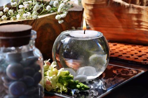pecera con vela flotante y gema blanca 20 piezas aluzza