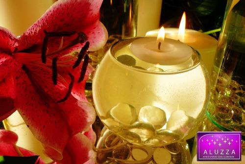 pecera con vela flotante y gemas rosadas. 12 piezas. aluzza