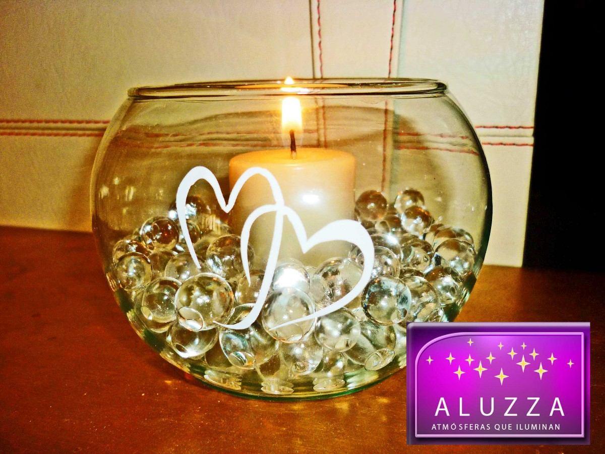 Peceras de cristal con vela e hidrogel aluzza 500 - Centros de mesa con peceras ...