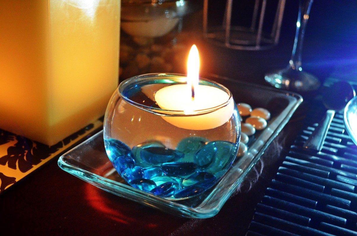 Peceras de cristal con vela flotante aluzza en mercado libre - Centro mesa velas ...
