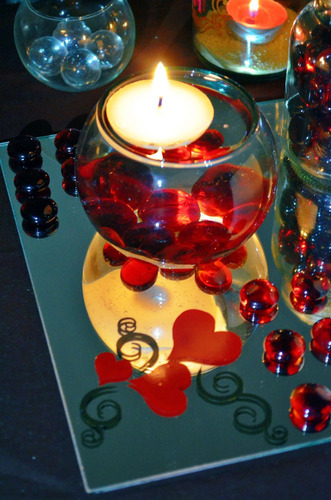 peceras de cristal con vela flotante aluzza