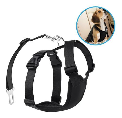 pechera arnés nylon p perro c/ cinturon seguridad p/ carro