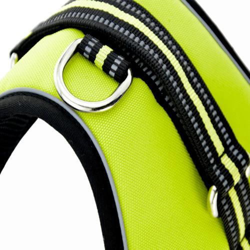pechera arnés nylon p/ perro mascota c/ bandas reflectivas