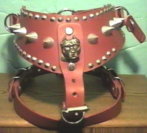 pechera piel pitbull roja o rosa extragrande picos silverado