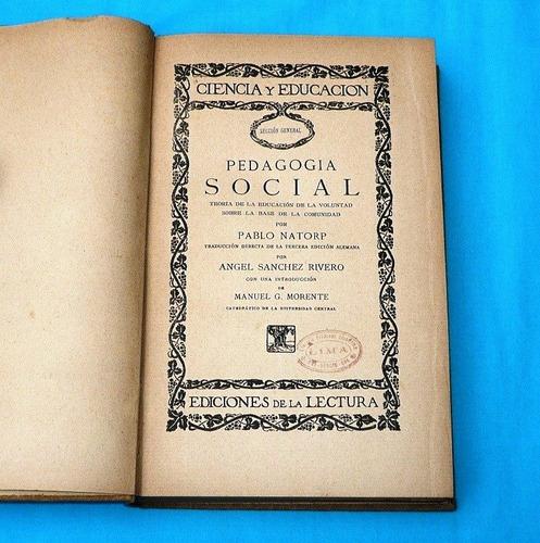 pedagogía social pablo natorp 1913 etica filosofía moral