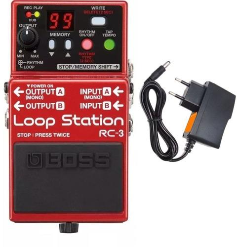 pedal boss rc3 loop station 99 memórias rc 3 usb + fonte