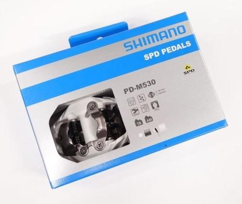 pedal clip shimano m530 encaixe plataforma branc + taquinhos