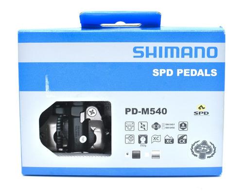 pedal de contacto shimano mtb pd-m540 negro/plata c/placas