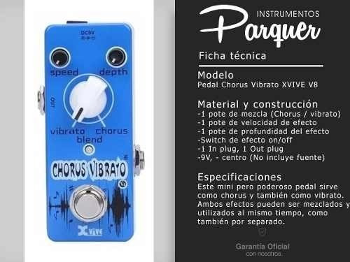 pedal de efecto chorus vibrato para guitarra xvive v8