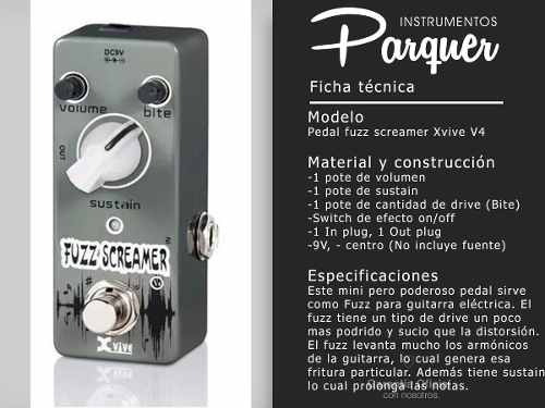 pedal de efecto fuzz screamer xvive v4 guitarra electrica