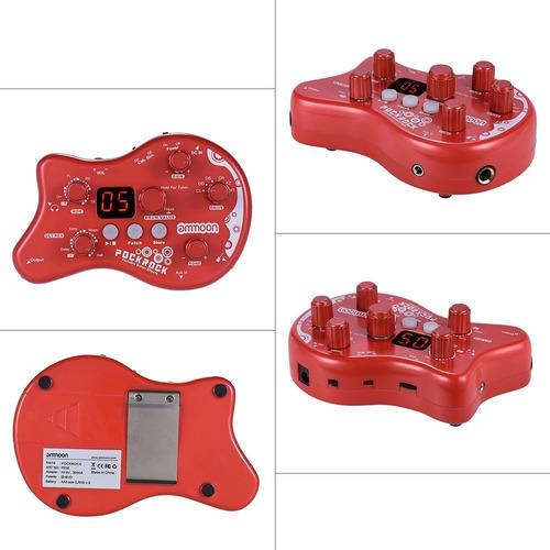 pedal de efectos ammoon pockrock portátil p/ guitarra rojo