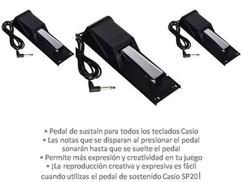 pedal de sustain casio sp20 metálico para teclados casio