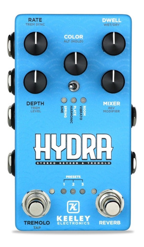 pedal keeley hydra stereo reverb & tremolo shimmer usa