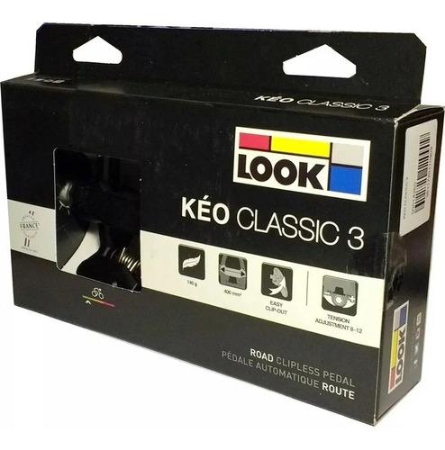 pedal  look keo classic 3 preto ,c/ tacos cinza