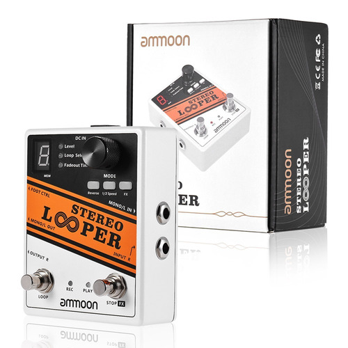 pedal loop looper estereo ammoon - 10 bancos de memória