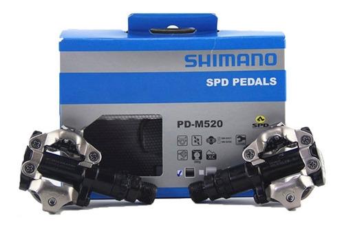 pedal mtb clip shimano spd m520 c/tacos encaixe