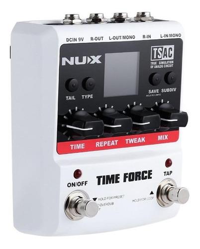 pedal para guitarra com 11 efeitos de delay nux time force