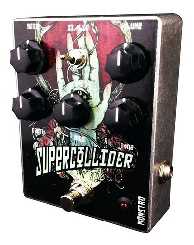 pedal supercollider fuzz p/ baixo timbre massivo silício led