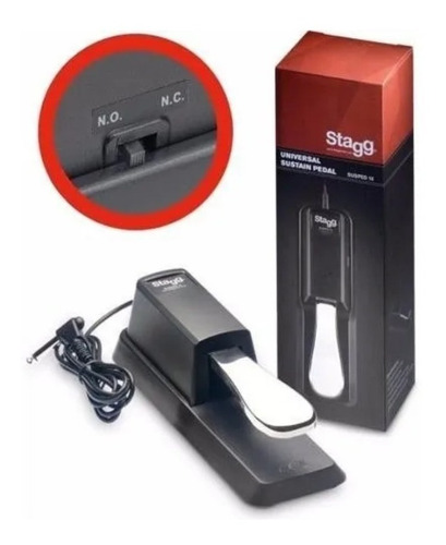 pedal sustain stagg teclado susped 10 p/ yamaha roland casio