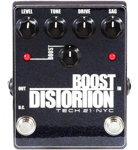 pedal tech 21  analog distortion clean boost metallic series