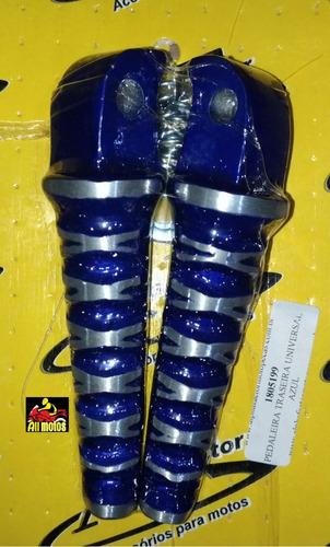 pedaleira traseira esportiva azul pra moto titan 125 150 par