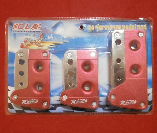 pedaleras para sincronico tuning rojas con bordes cromados