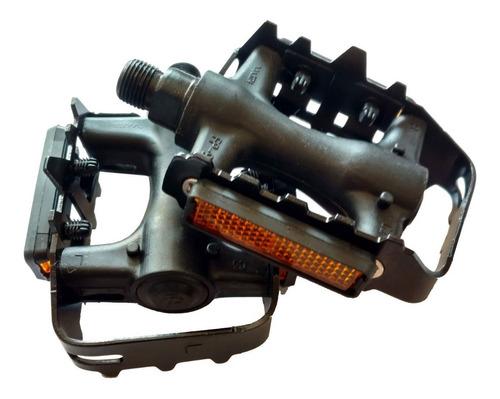 pedales aluminio y resina negro con reflectores / rosca 9/16
