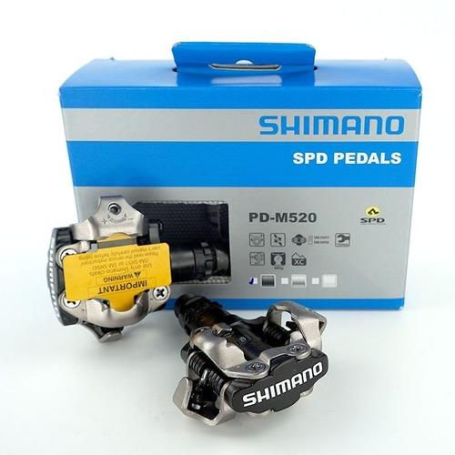 pedales automaticos shimano m-520 spd negros incluye calas