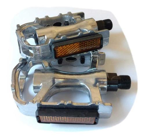 pedales mtb de aluminio plata eje de acero rosca 9/16