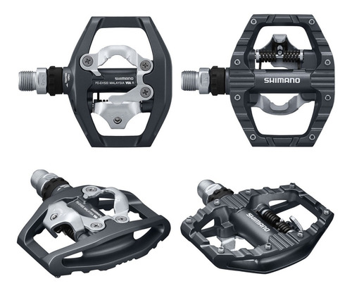 pedales shimano eh500 c/ calas y traba 1 lado pines - ciclos