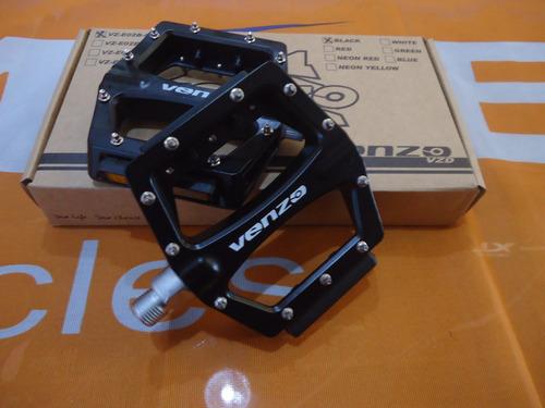 pedales venzo e02b-001 aluminio negro 9/16 - racer bikes