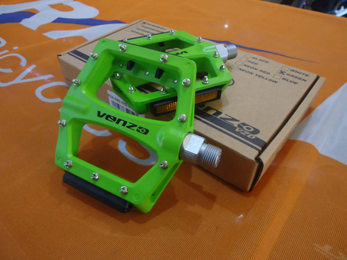 pedales venzo e02b-001 aluminio verde 9/16 - racer bikes