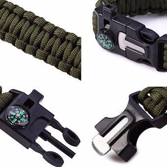 pedernal pulsera tactica supervivencia verde militar camping