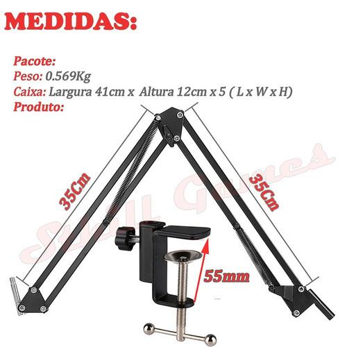 pedestal articulado mesa suporte microfone retrátil env_24h