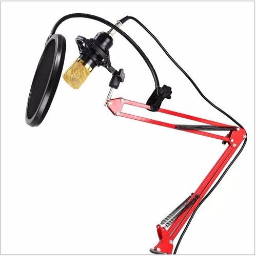 pedestal articulado vermelho mesa suporte microfone retratil
