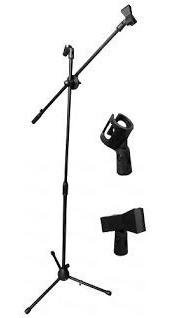 pedestal de micrófono doble con boom