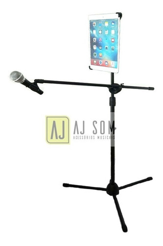 pedestal girafa de microfone+cach+sup de tablets 7-10 pol