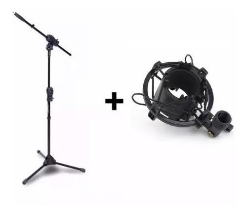 pedestal girafa microfone smmax ibox + shock mount aranha