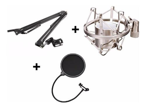 pedestal mesa articulado + aranha + pop filter microfone